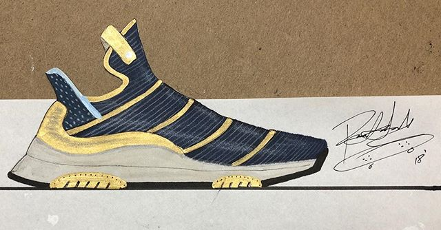 "Sketch 07/21 - still trying to leave work with enough time to turn one of these on time. This time around a take on a dominant pop of gold with a deep blue ""wrapped"" upper on a runner-lifestyle shoe. @pensole_academy @vibram @fnplatform #fnpc18 #21daysofdesign #pensoleacademy #pensole #ritid #ckinspiration #lacelessdesign #rippedlaces #industrialdesign #footweardesign #vibram #vibramsoles"