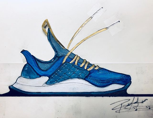 "Day 06/21 and this is one I purely did for fun and the joy of ""what would a lifestyle-runner with a quilted cage with hidden laceloops"" could be.... @fnplatform @pensole_academy @vibram #pensoleacademy #designoftheday #fortheloveofpencils #thankyouskateboarding #conceptkicks #ckinspiration #core77 #sneakerdesign #runnerdesign #pensole #21daysofdesign"