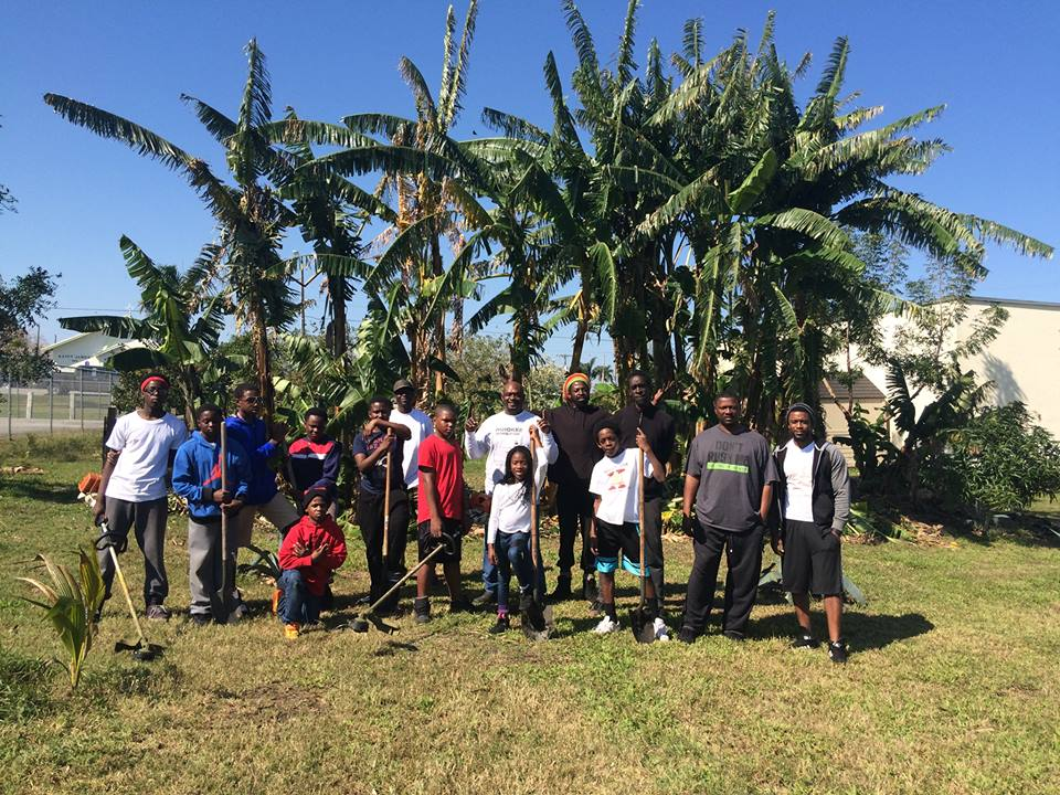Pahokee Florida - Preschool garden and play area. Fruit trees include banana trees and starfruit trees. There are also seasonal cherries and mulberries.