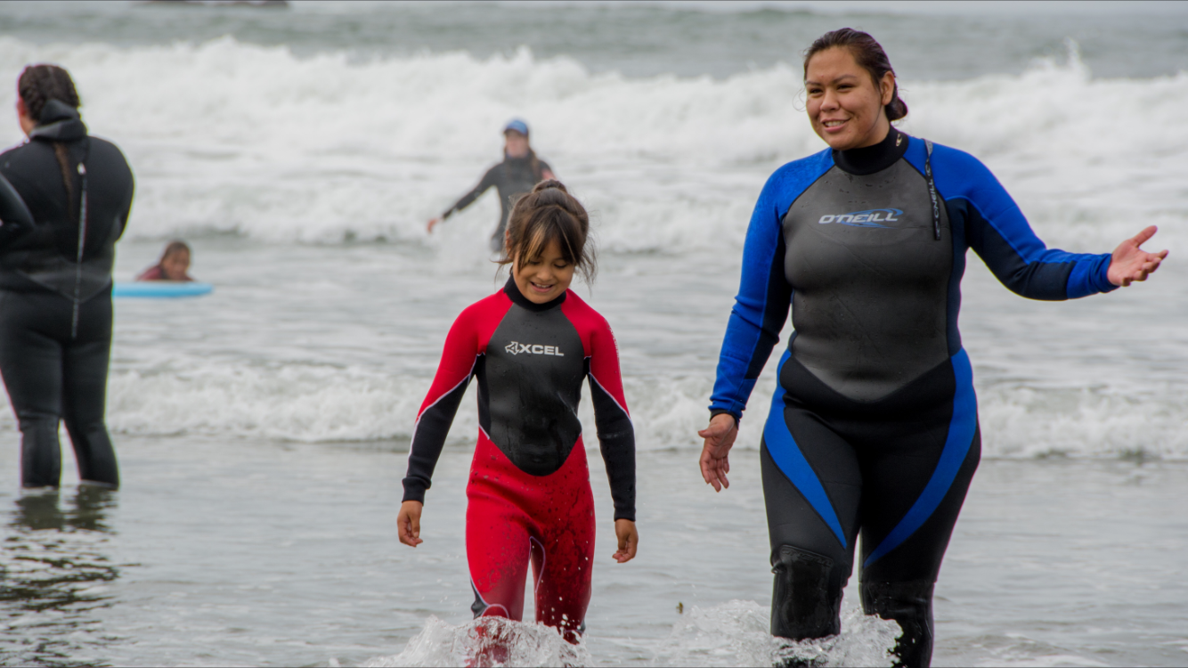 Makah Mom and Daughter surfers