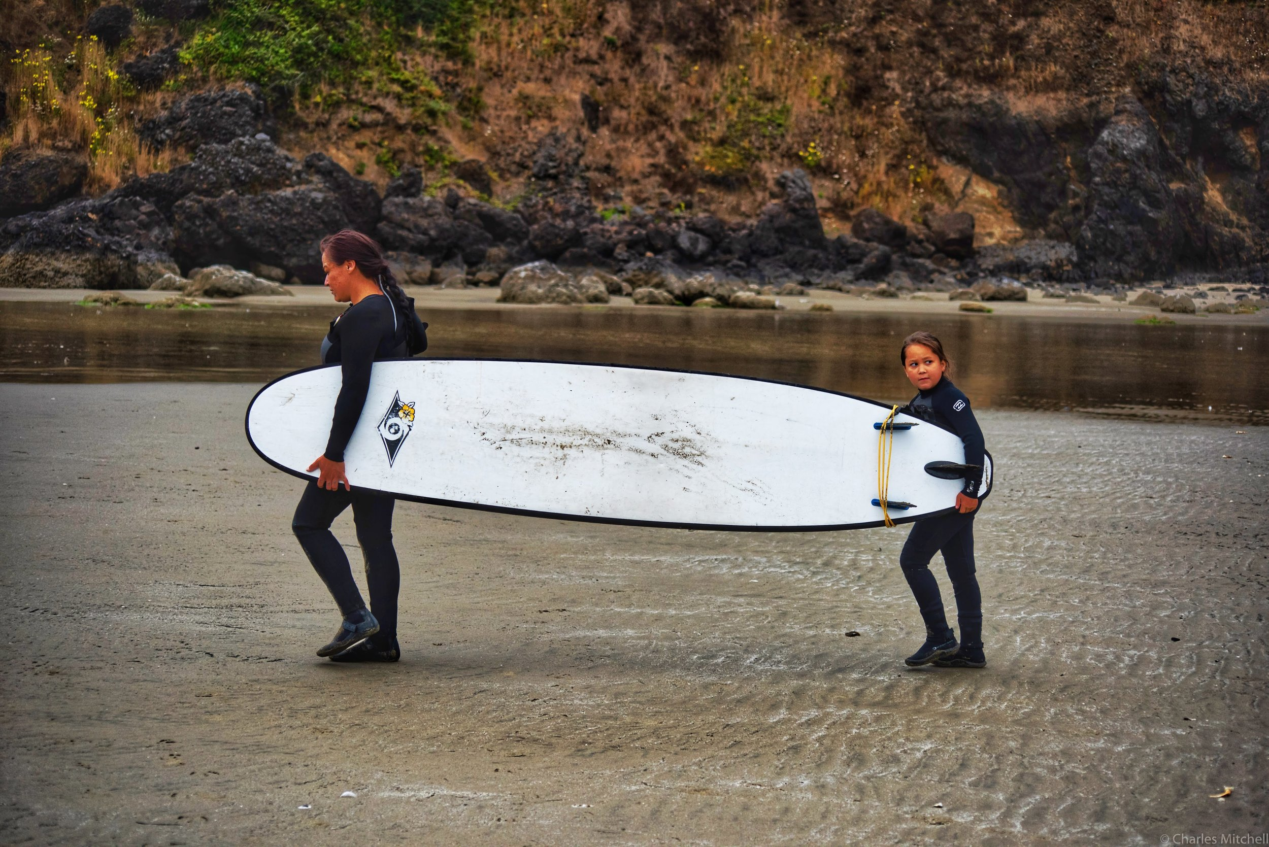 Mom & Daughter surfboard carry