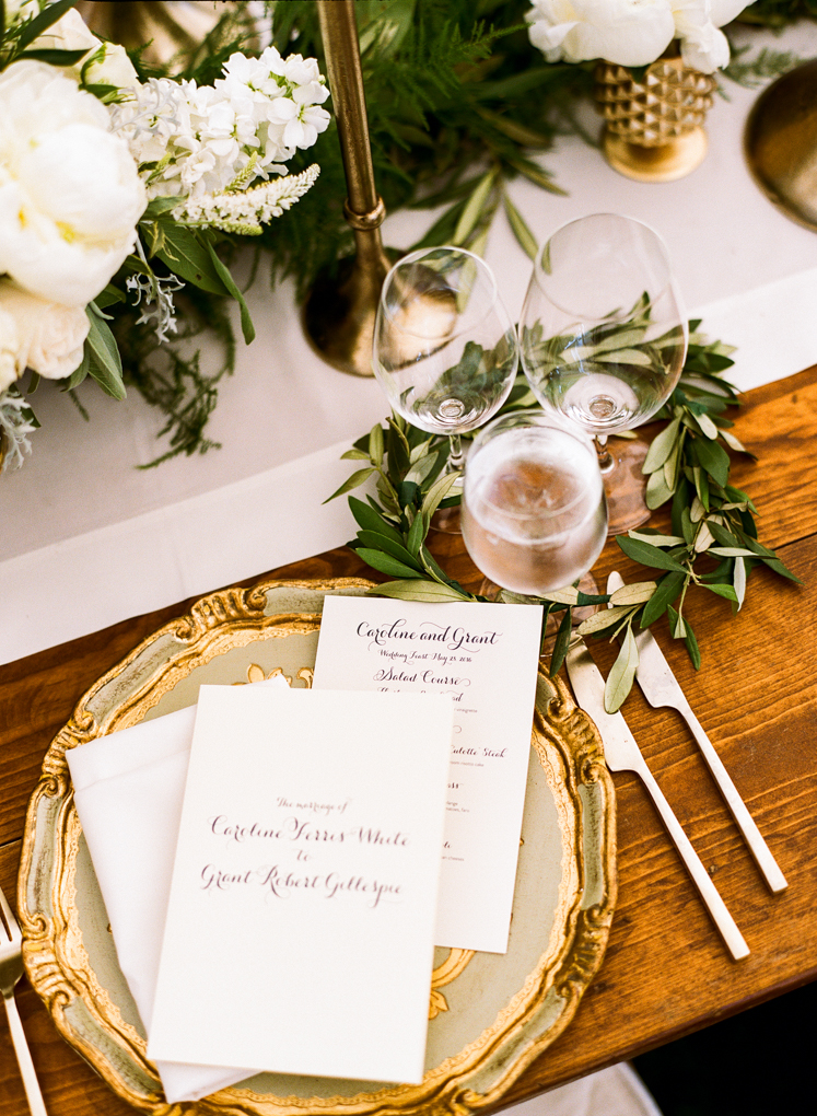 Gold on Rustic Wedding Reception