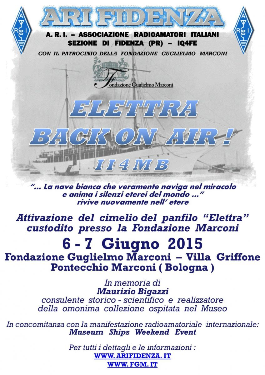 Marconi's Yacht the Elettra and the special event station information card.