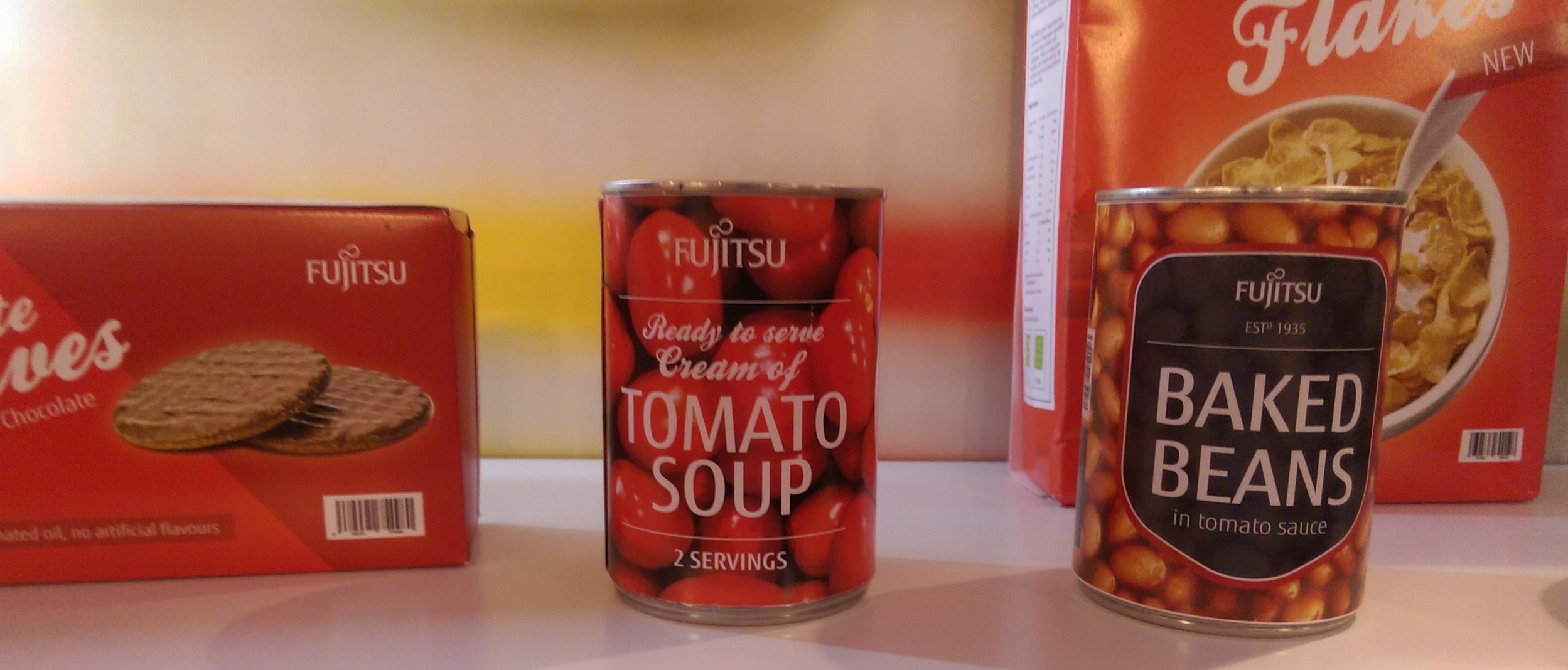 Bet you didn't know that Fujitsu make biscuits, beans, soup or FujiFlakes? Sadly, alongside their excellent business smartphones, these areonly available in Japan for now. OK, we know you're smarter than that - this was part of the Connected Retail Display Showcase.
