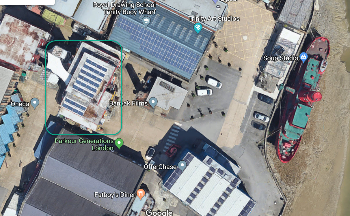 Onega's Solar Panels on the roof of Container City Building (green highlight area).