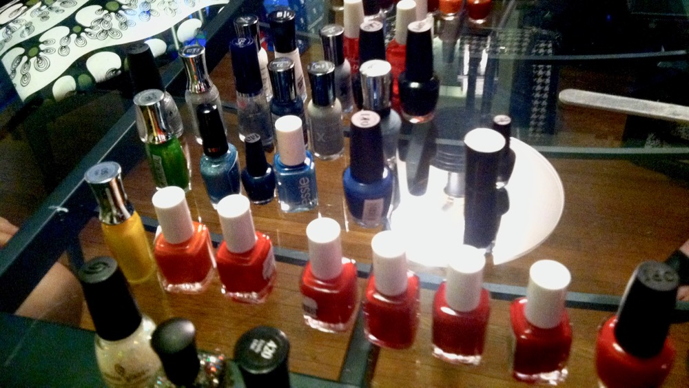 The girls' combined collection of nail polish, 2013. It's grown since then. Photo by me.