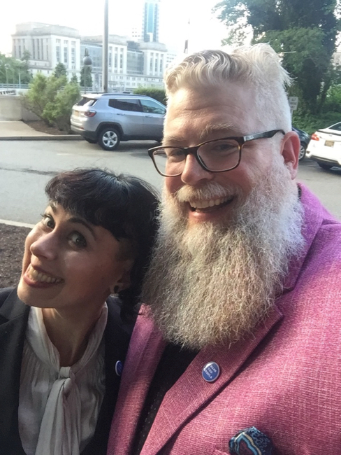 James and I before the Nebula banquet. Selfie. Photo by James.