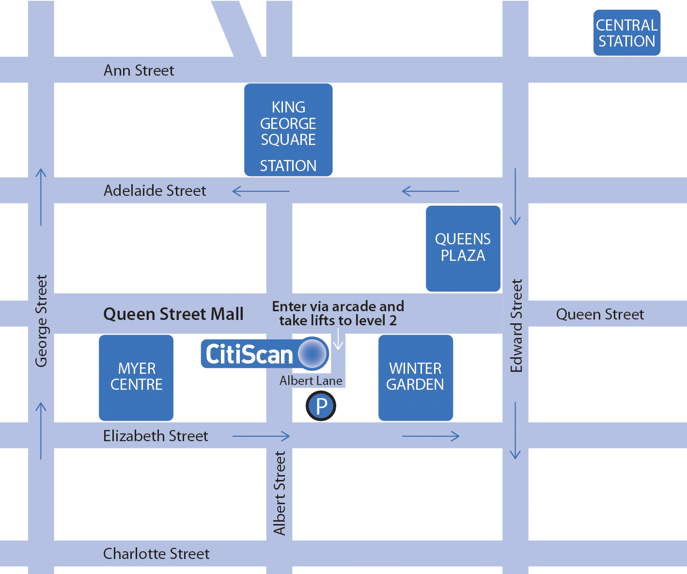 - CitiScan Radiology Brisbane CBDSUITE 4, Level 2141 Queen StreetBrisbane QLD 4000Phone: (07) 3035 3700 Fax: (07) 3035 3755Email: reception@citiscan.com.auOpening Hours:Monday - Friday 8.30am - 5.00pmSaturday 9.00am - 1.00pm