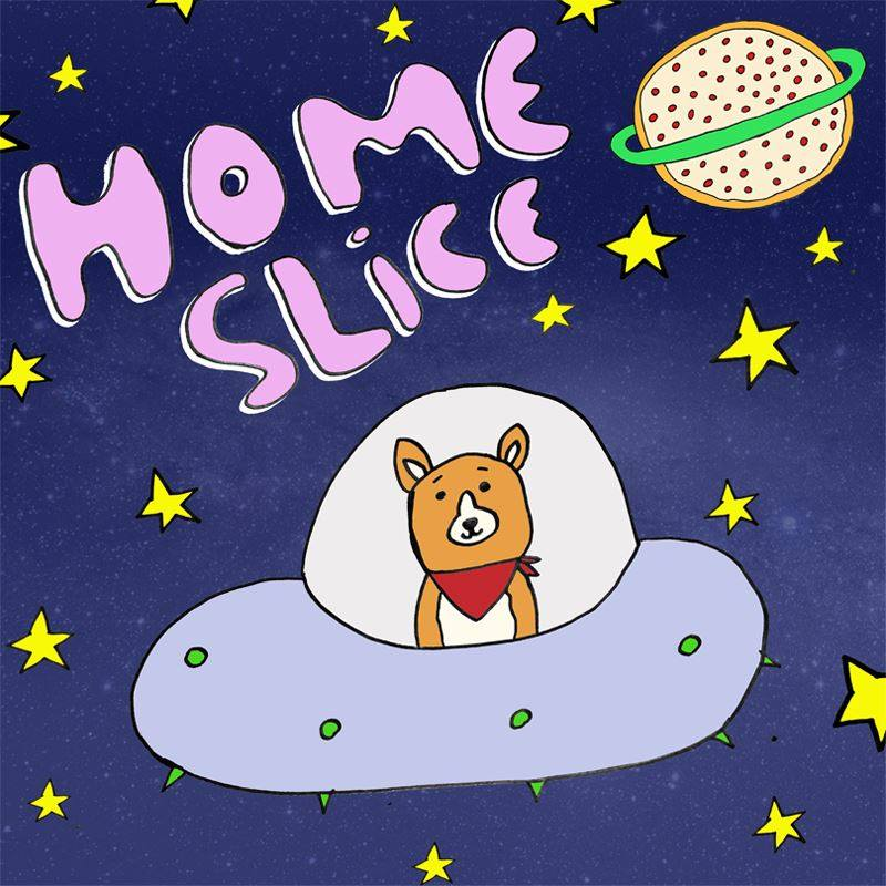 Home Slice logo by our very own Jesse of Paper Ceilings and pizza saint portrait fame!