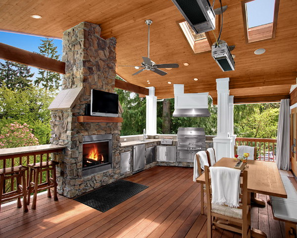 Fireplace outdoor kitchen in michigan