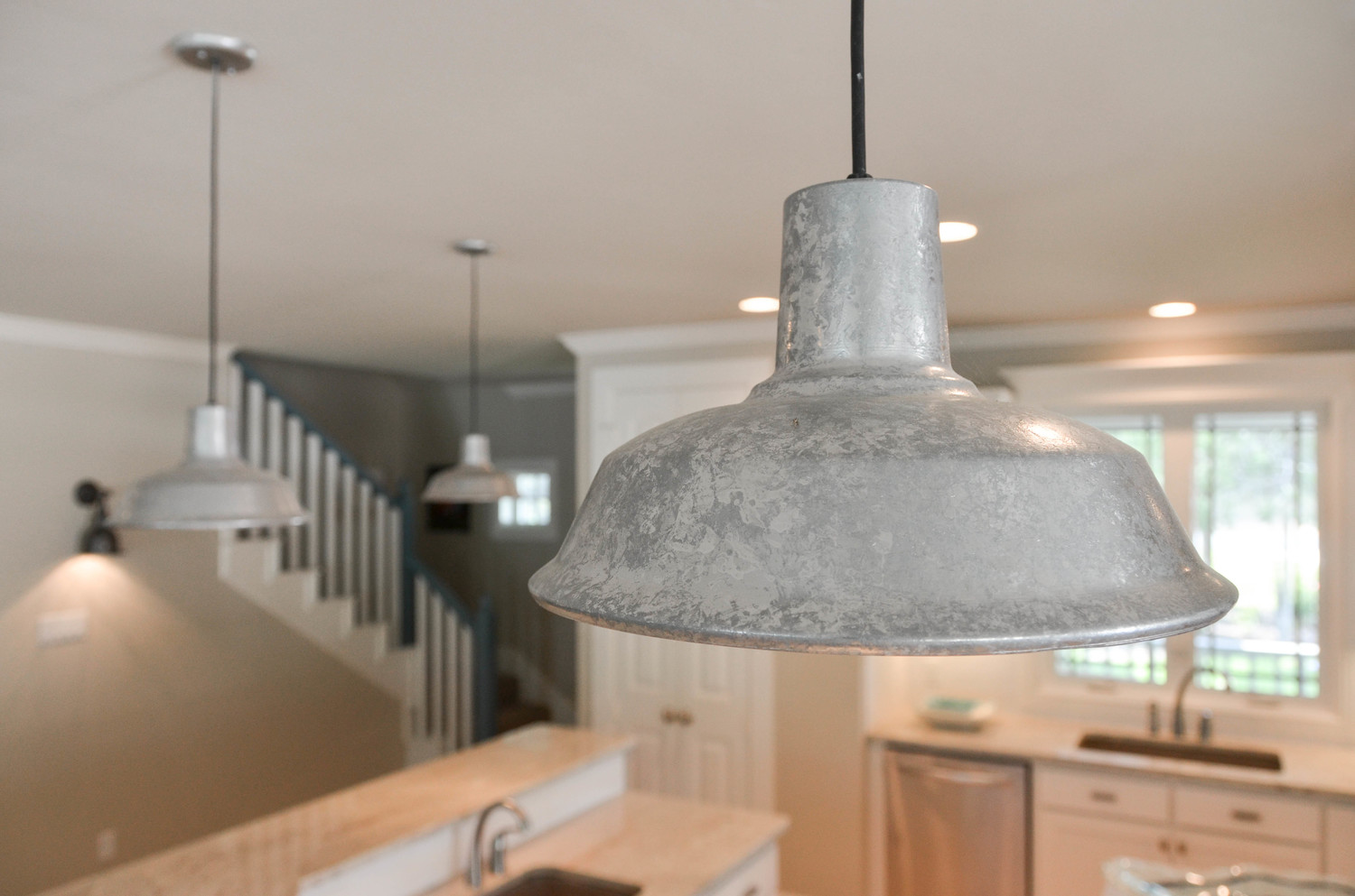 Aluminum island pendant light. Rustic kitchen pendant light.