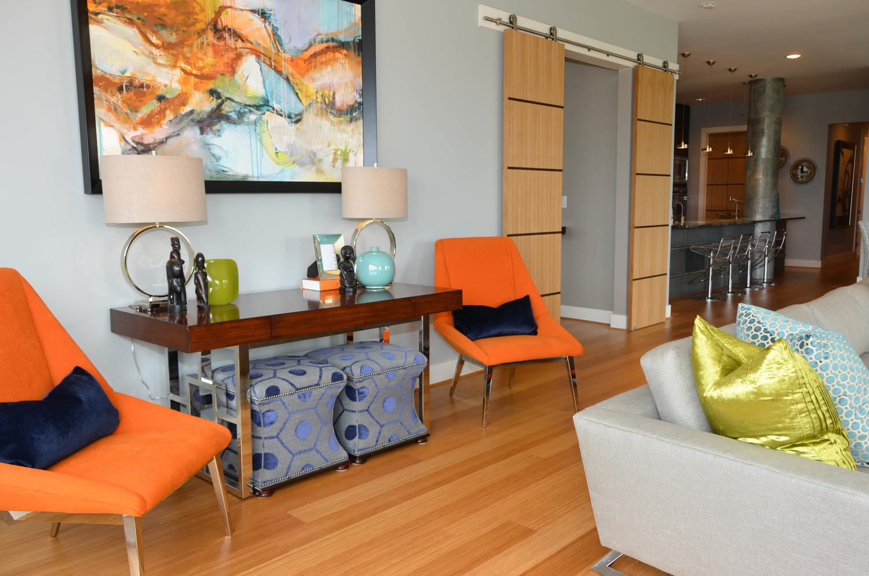 Orange mid-century modern chairs with chrome legs
