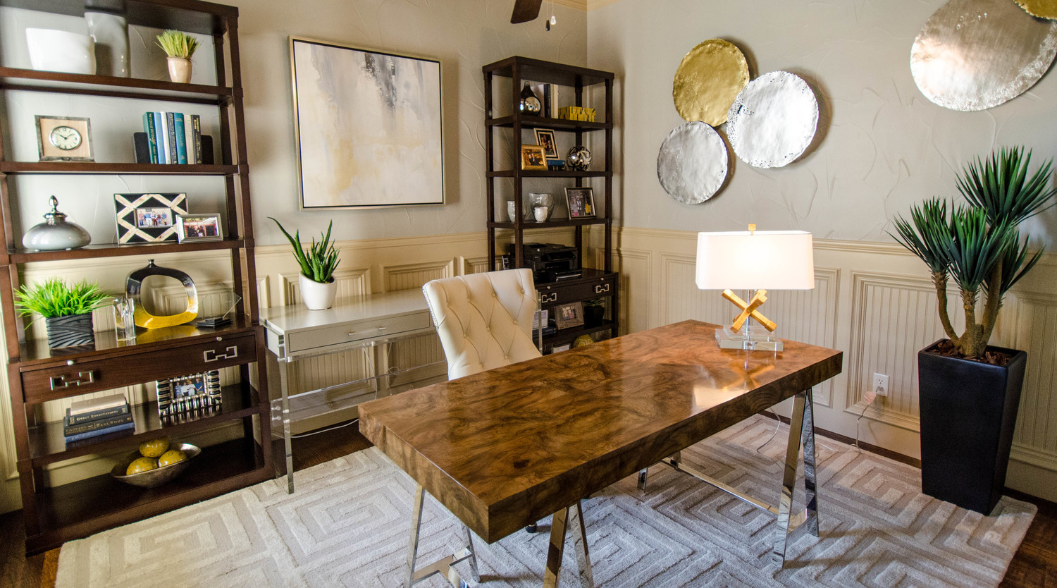 Modern home office with burl wood desk
