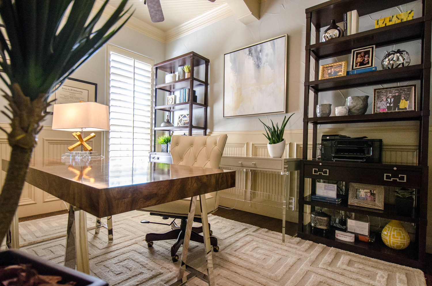 Two desks in a modern home office