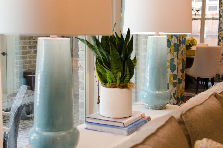 Teal ceramic lamps