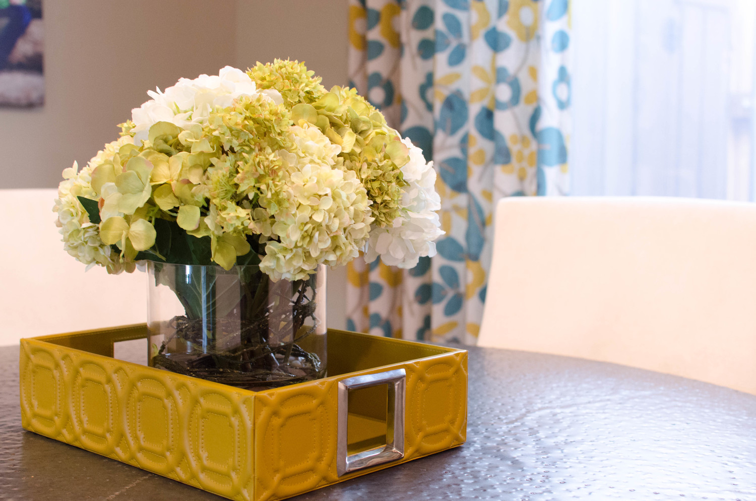 Yellow leather tray with flowers