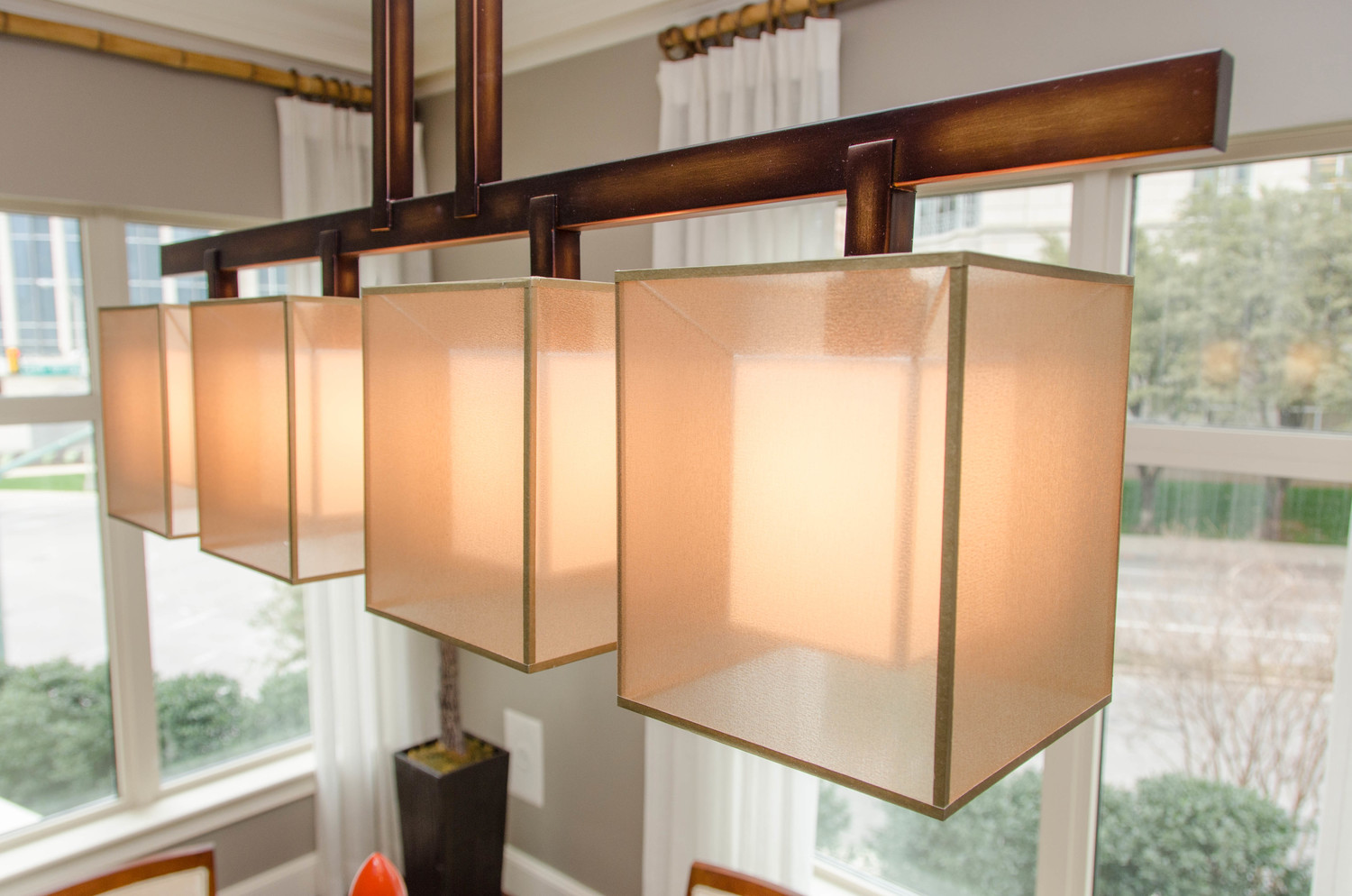 Linear double shade dining light