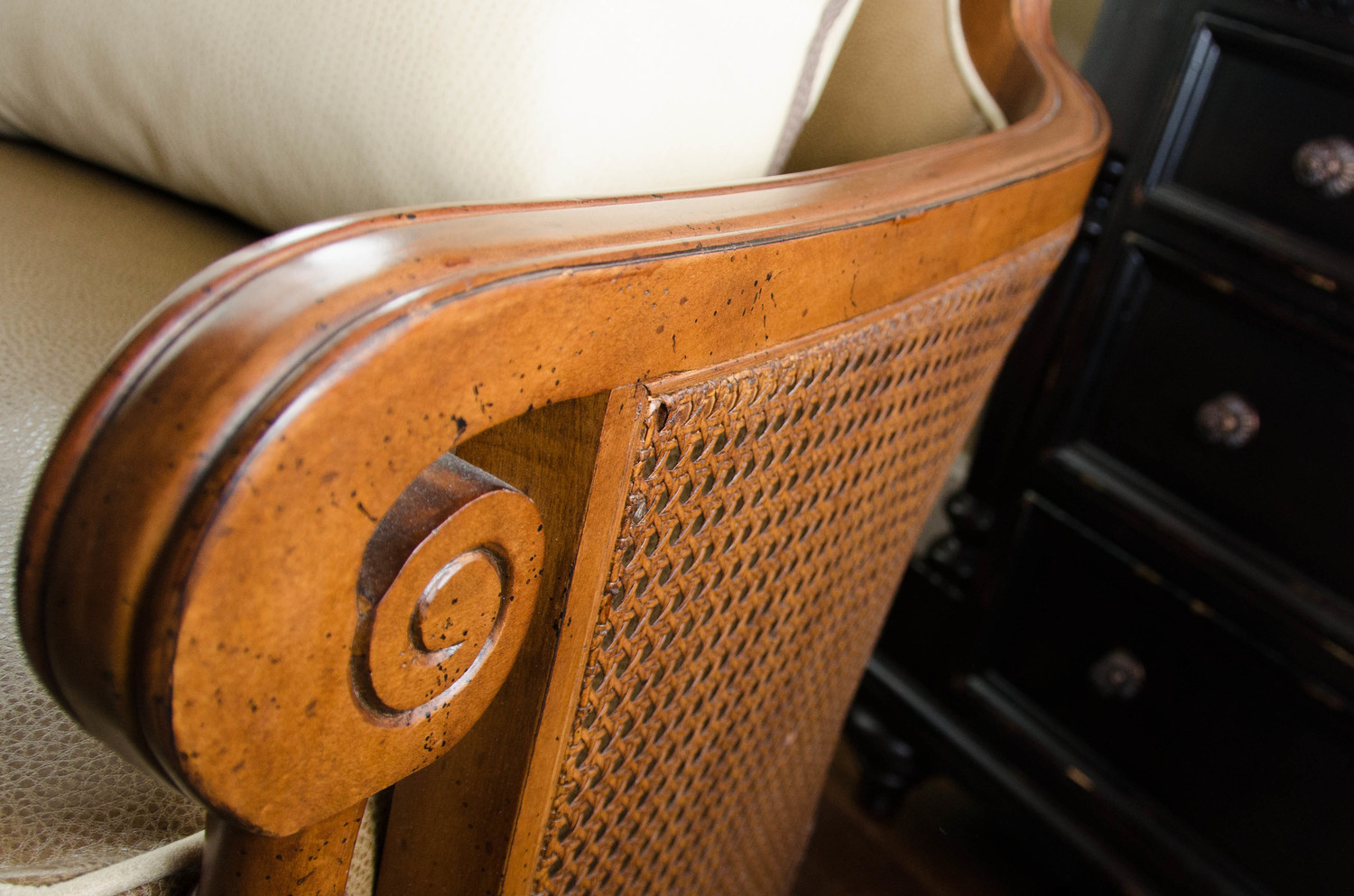 Detail of traditional rattan chair