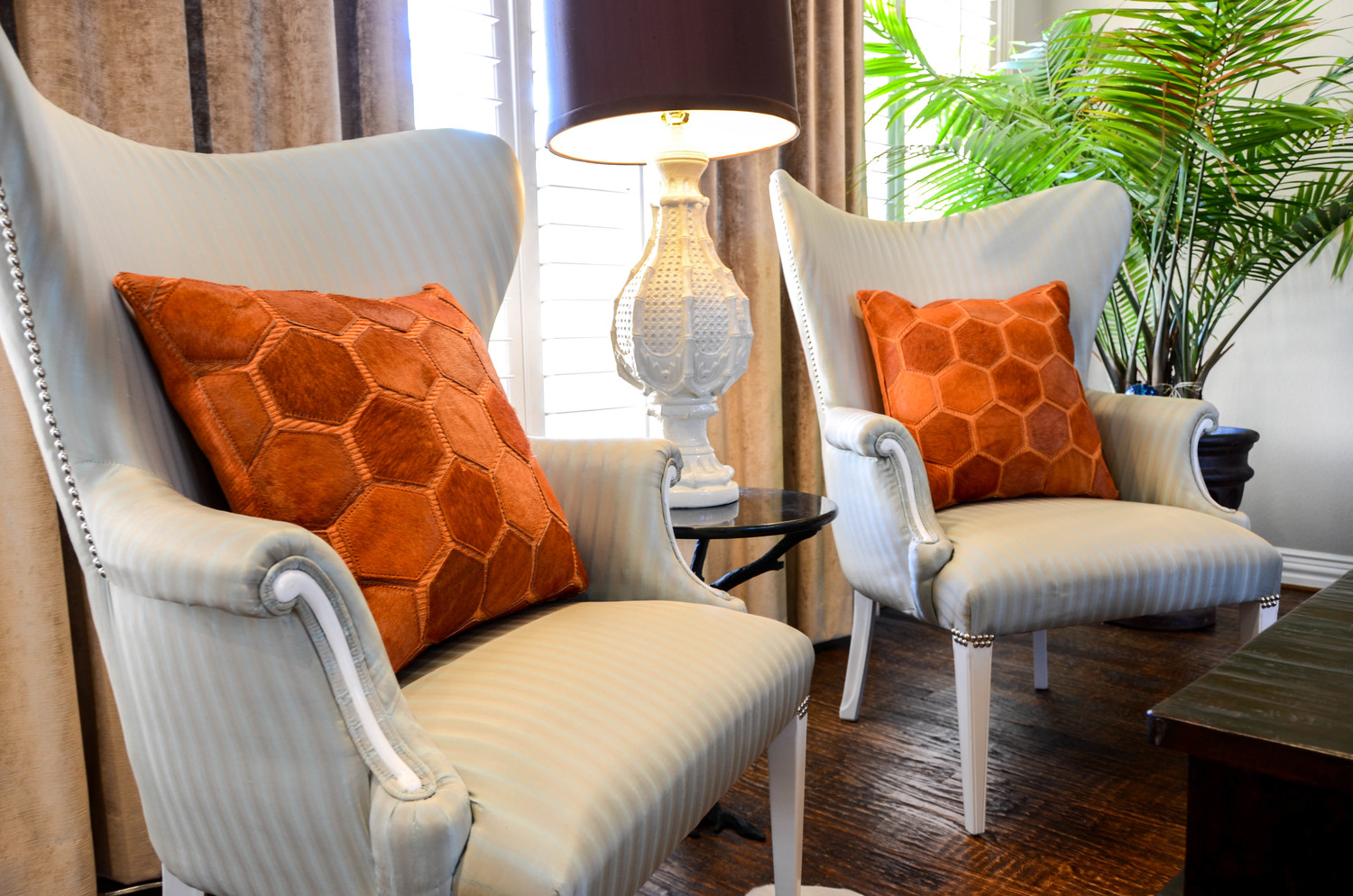 Traditional wing chair that has been updated with new fabric