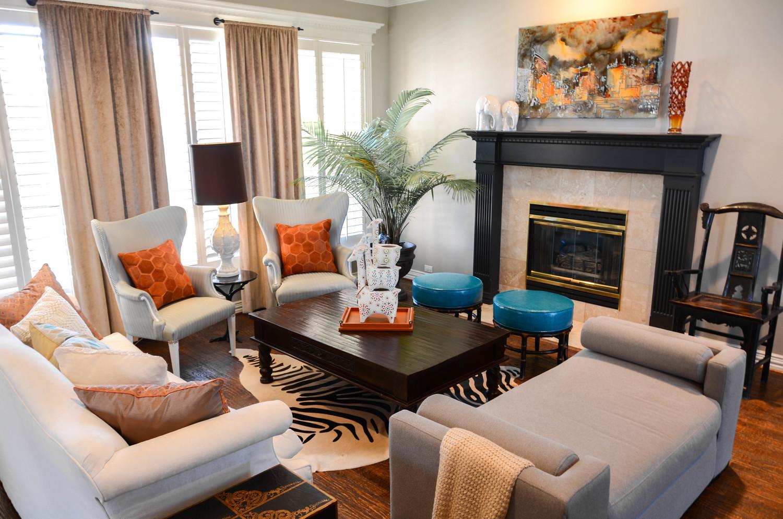 Bohemian global interior design styled living room