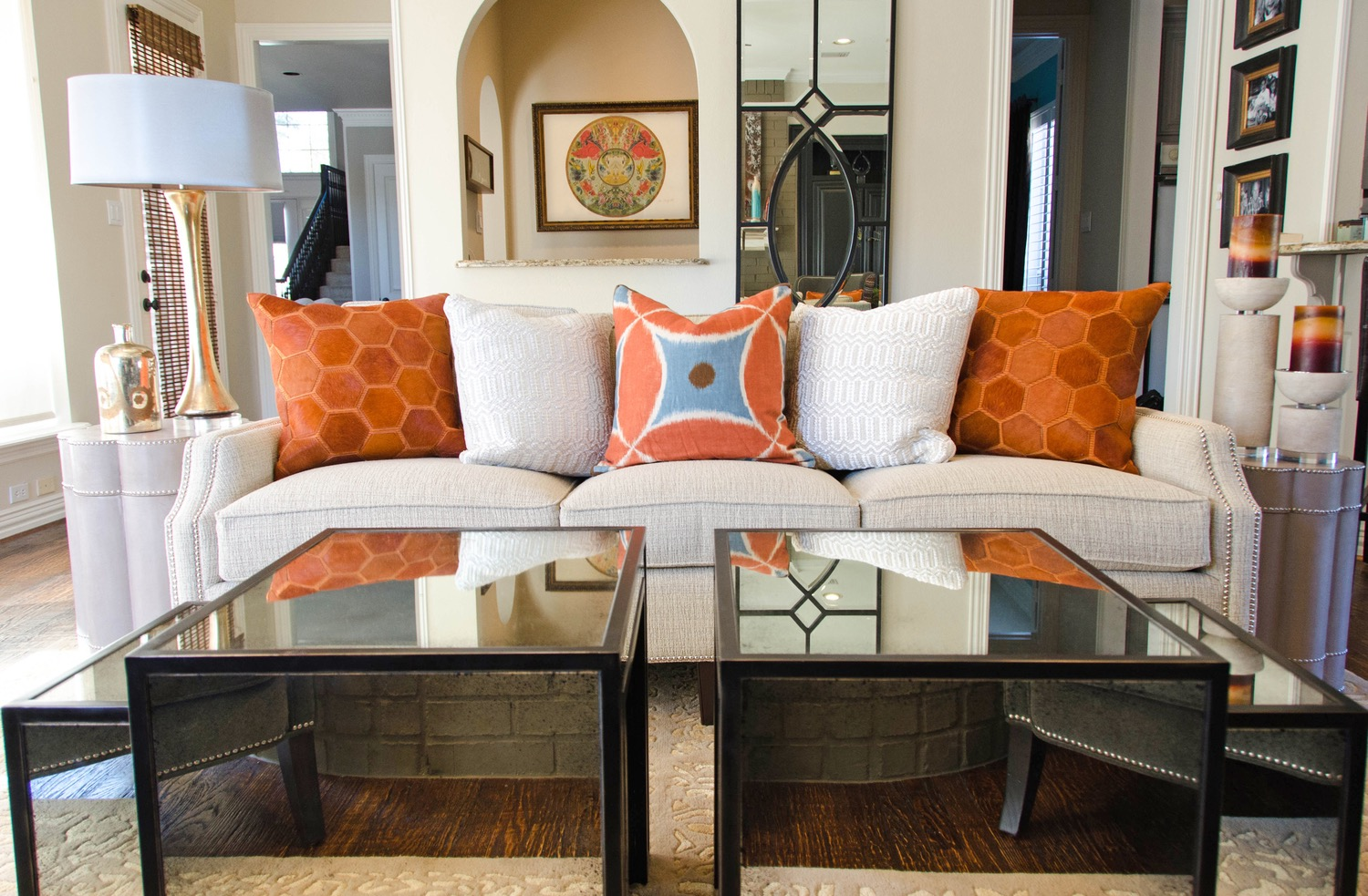 Transitional mirrored cube coffee table
