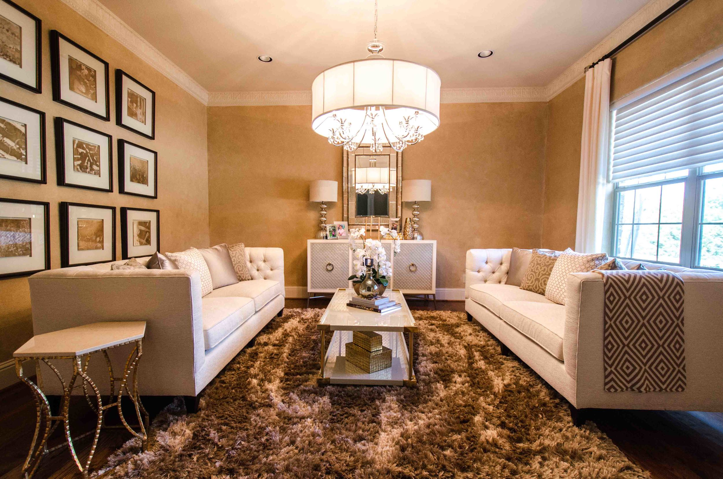 Traditional formal living room with twin sofas