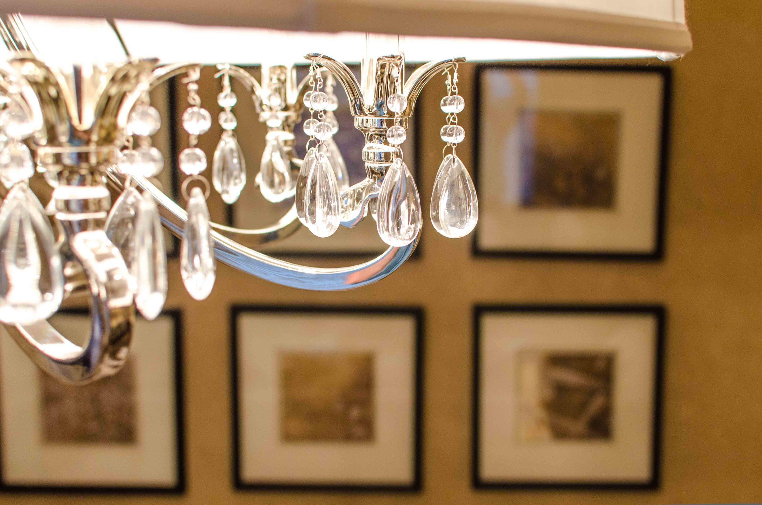 Close up of John Richard crystal chandelier