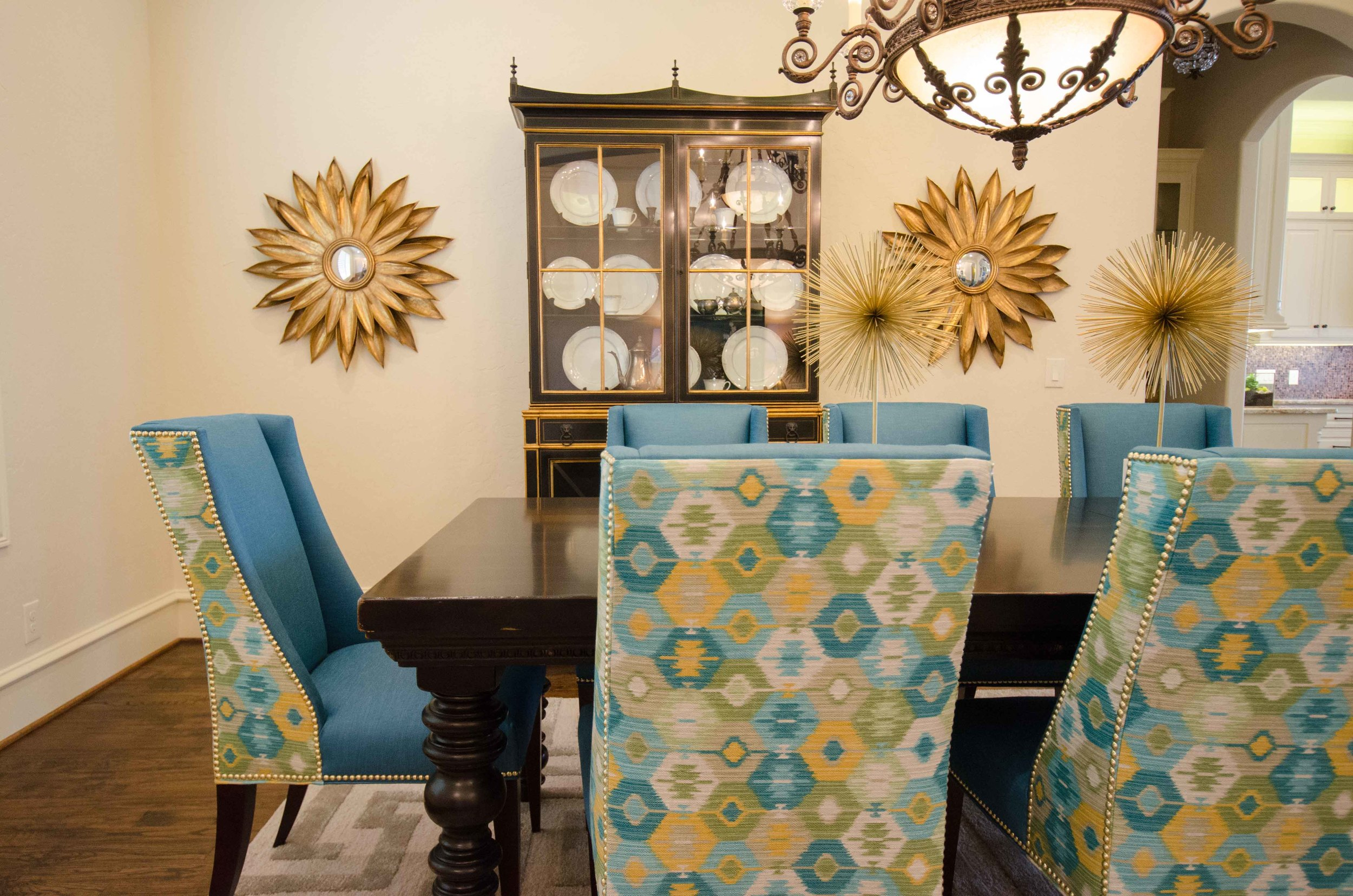 Traditional dining room with modern pops of color