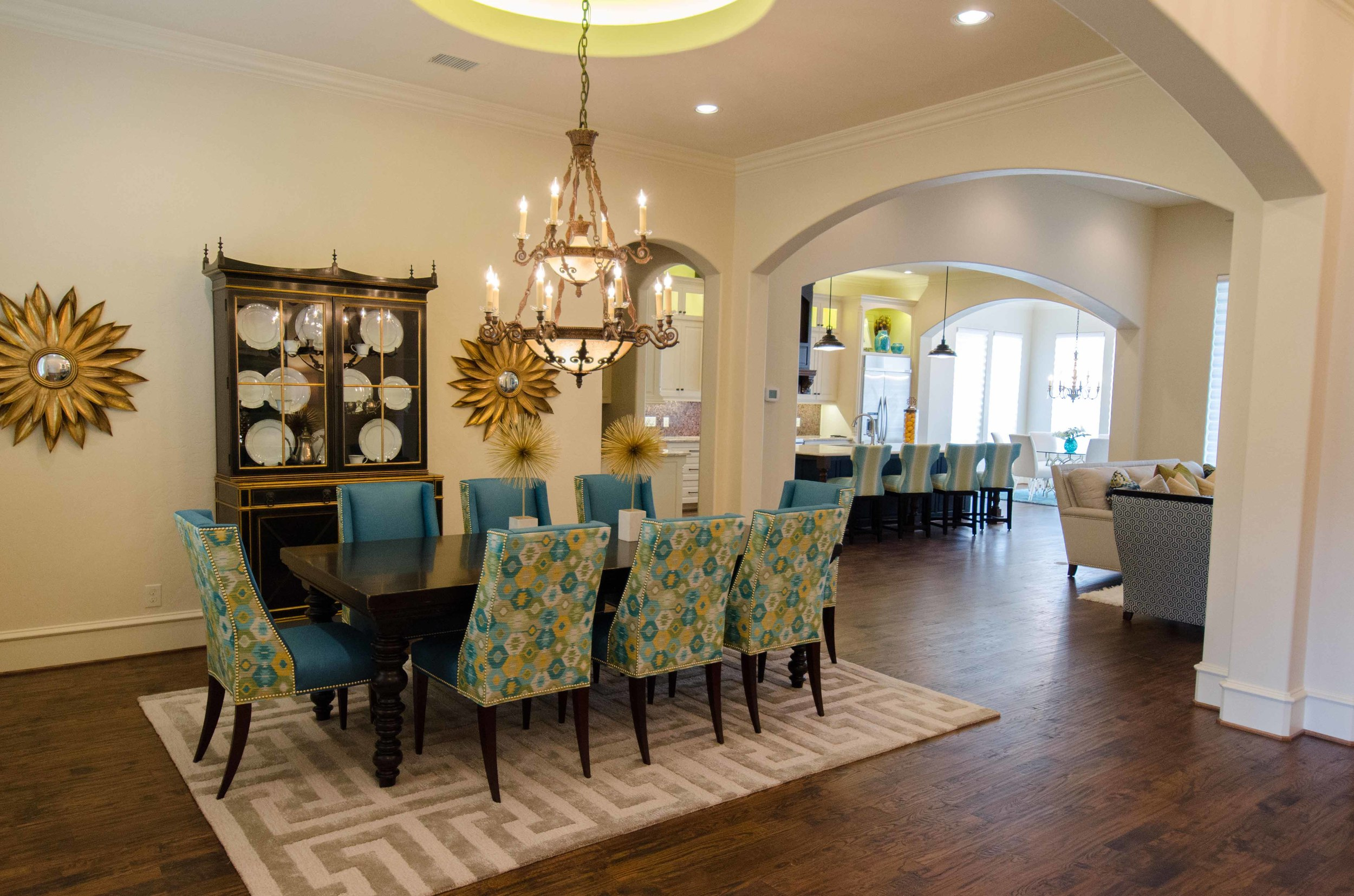 Transitional dining room and living room open concept