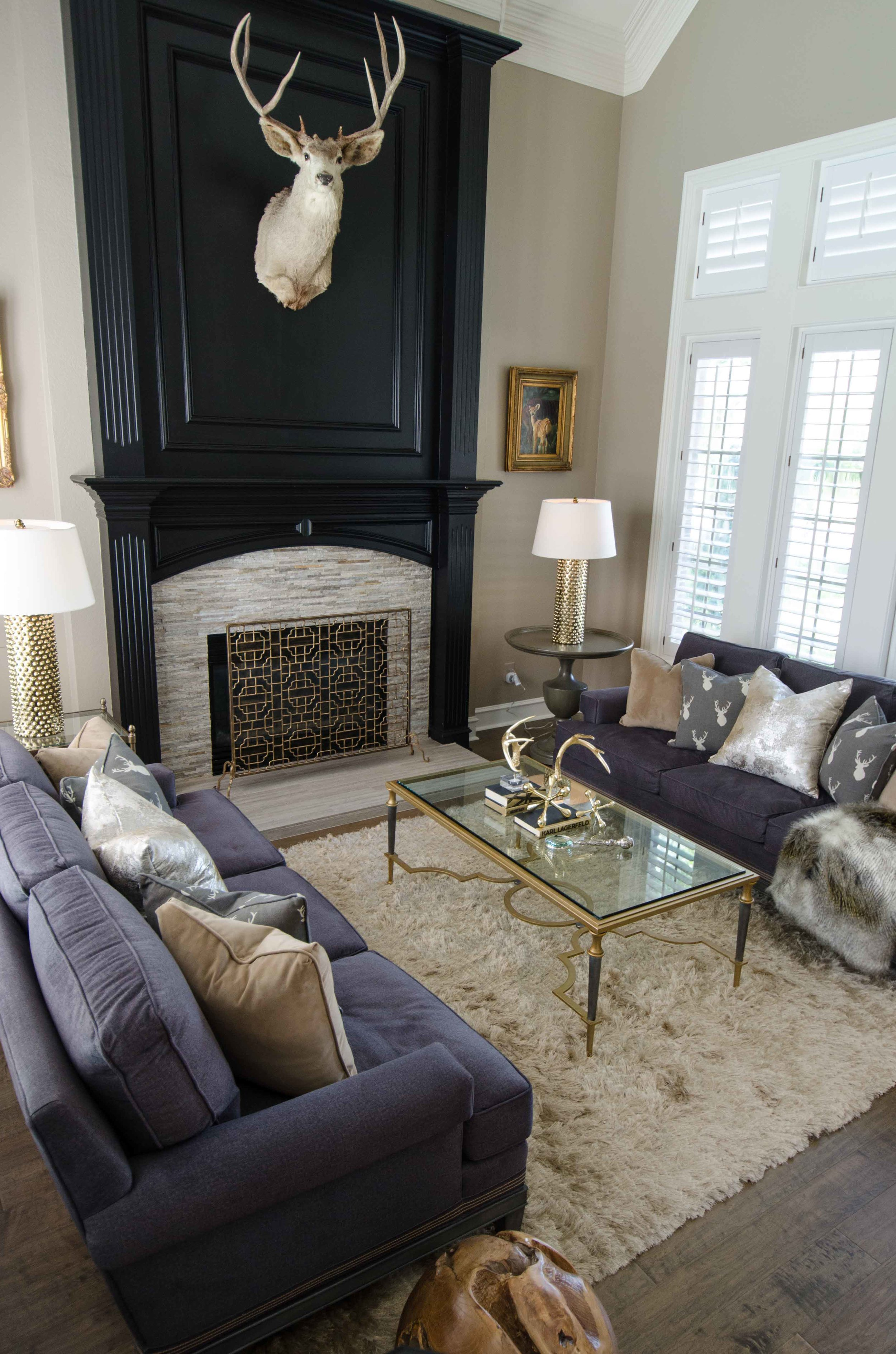 Dark sofas and fireplace with a lot of natural light