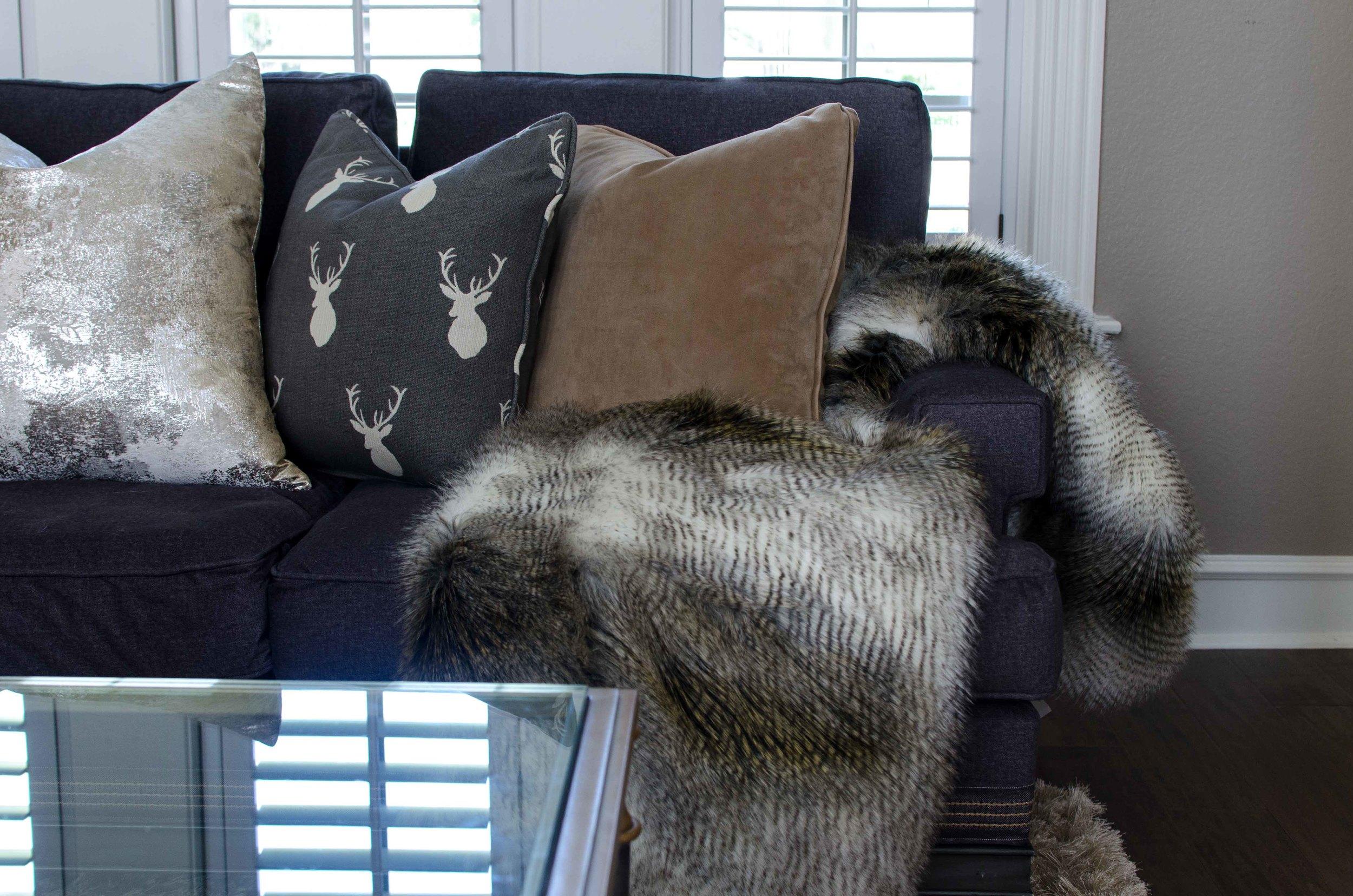 Deer pillow with fur throw