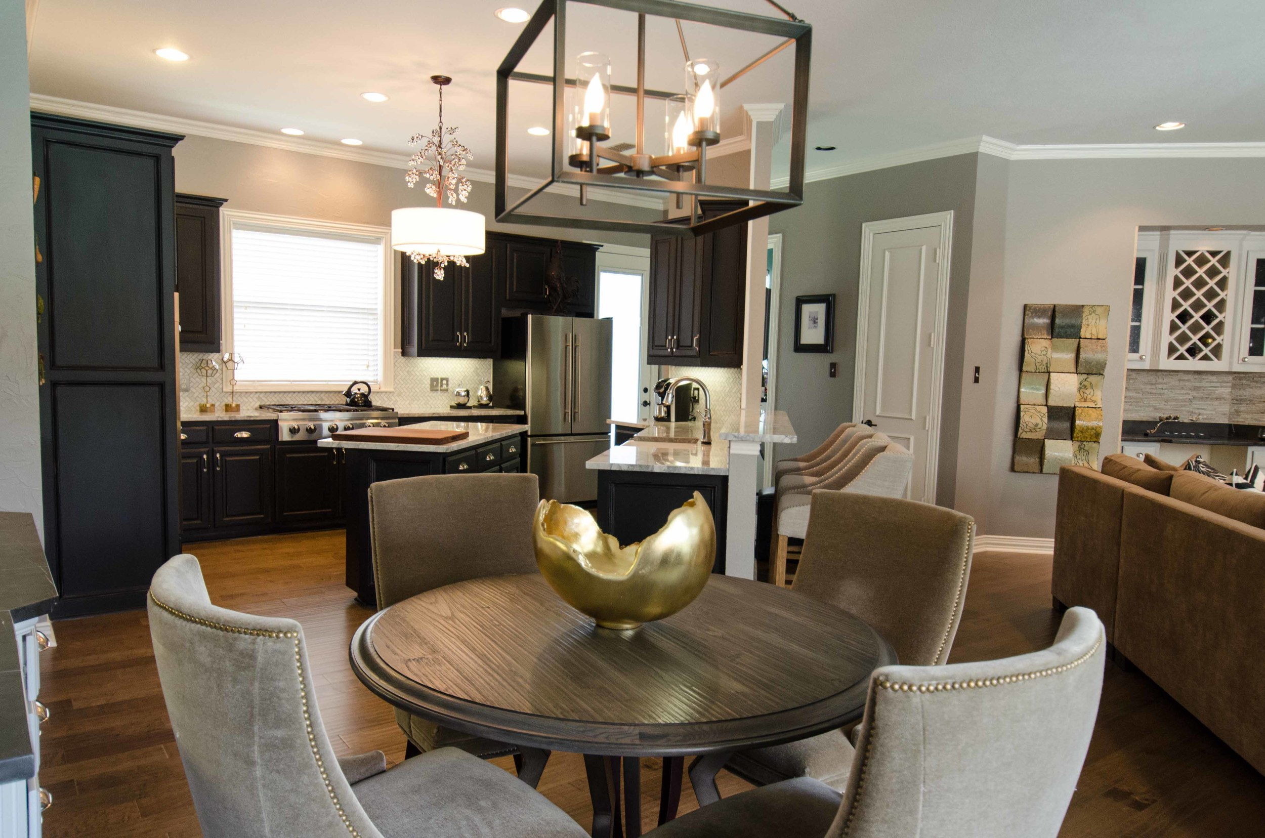 Traditional interior design with an open concept