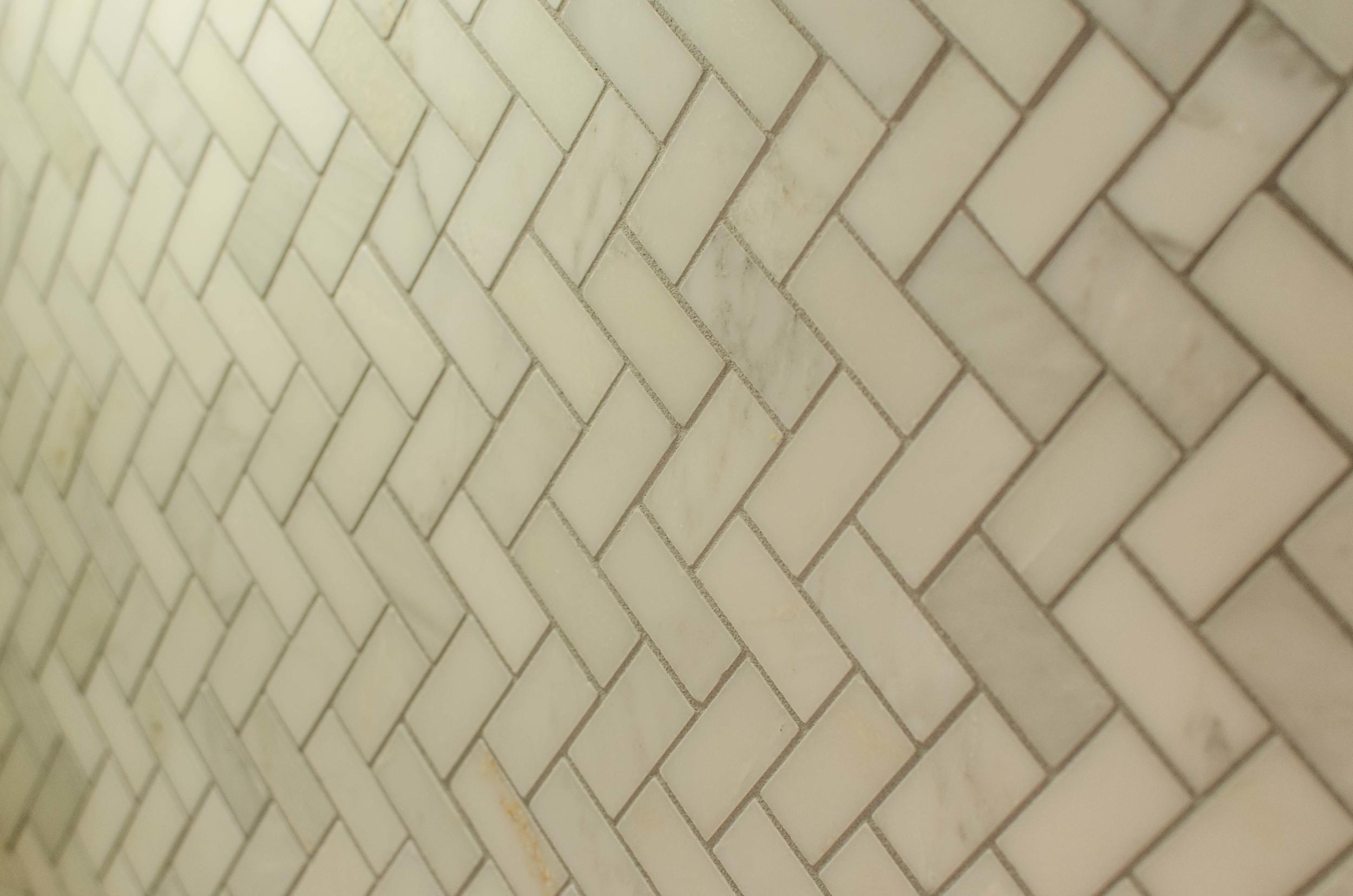 Chevron marble tile on it's side