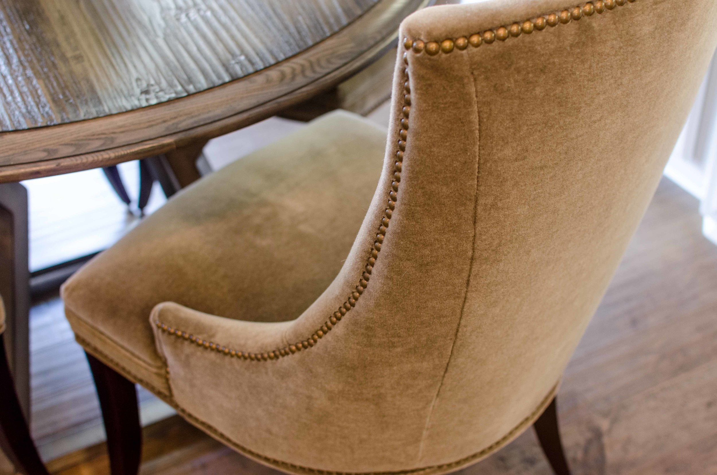 Caramel colored mohair wing chair
