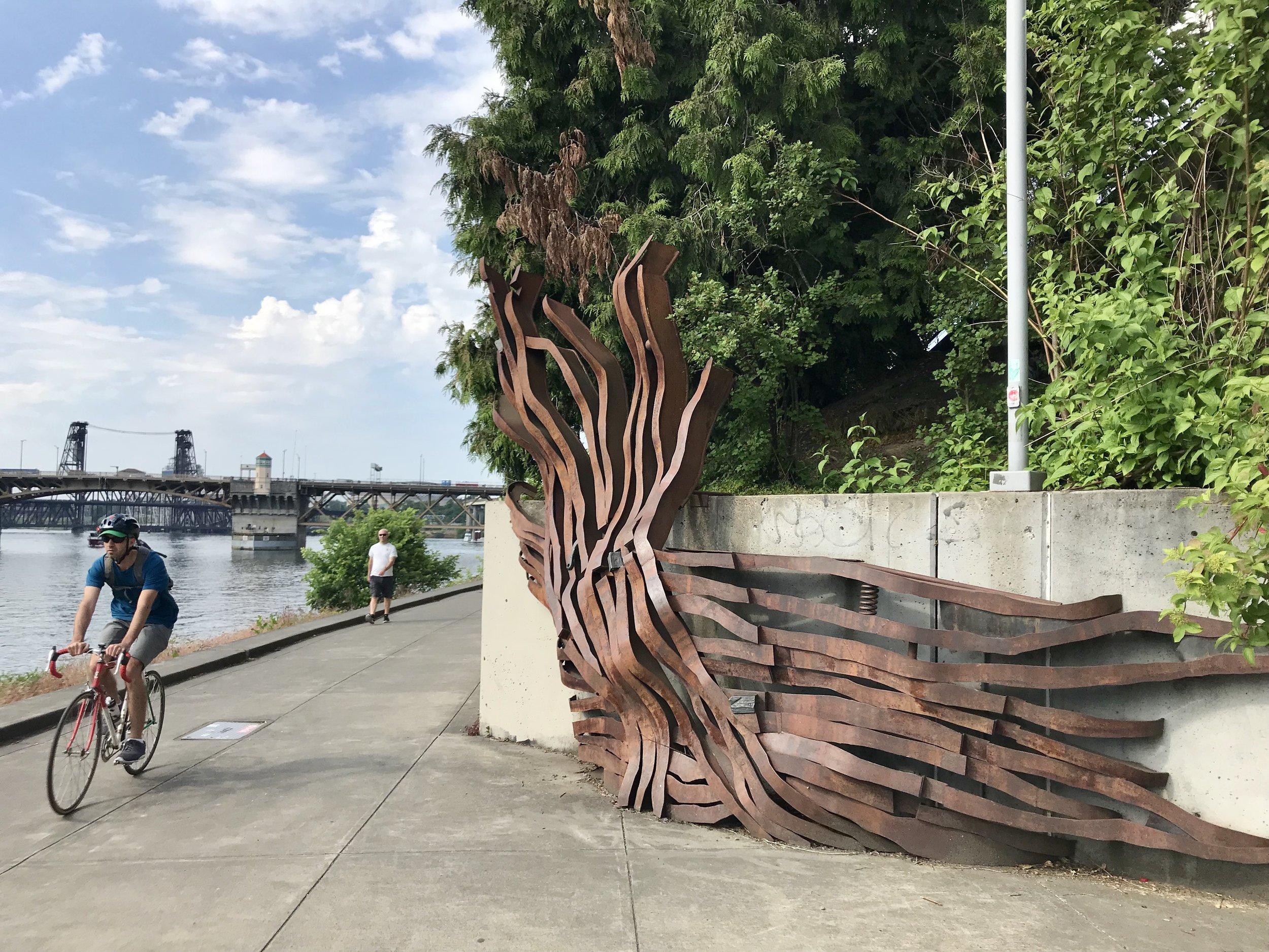 Water front biking and sculptures Portland