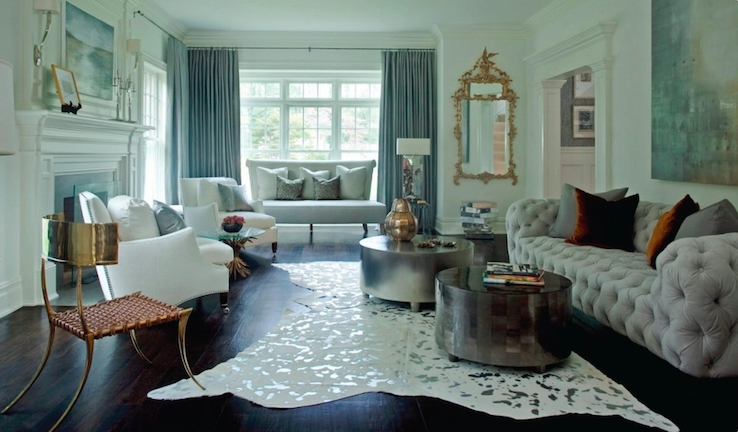 This metallic rug does wonders by reflecting the light flooding in from the windows. I love the dimension.