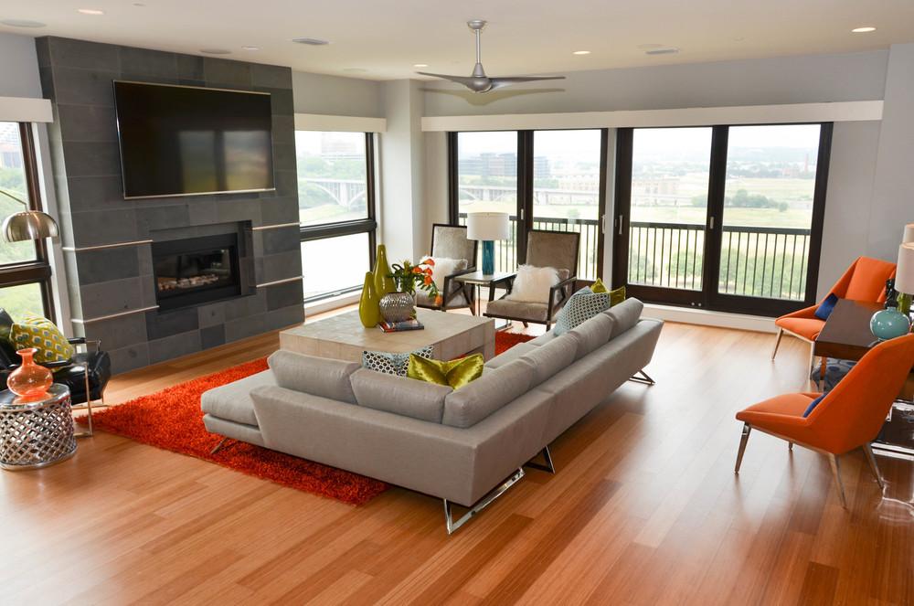 Mid-century modern interior design with floor to ceiling windows