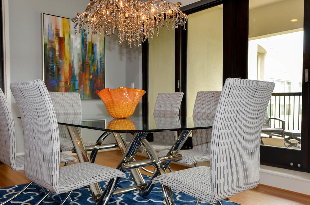 Glam mid-century modern dining room
