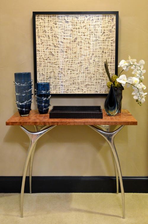 Mid-century modern burl wood entry console