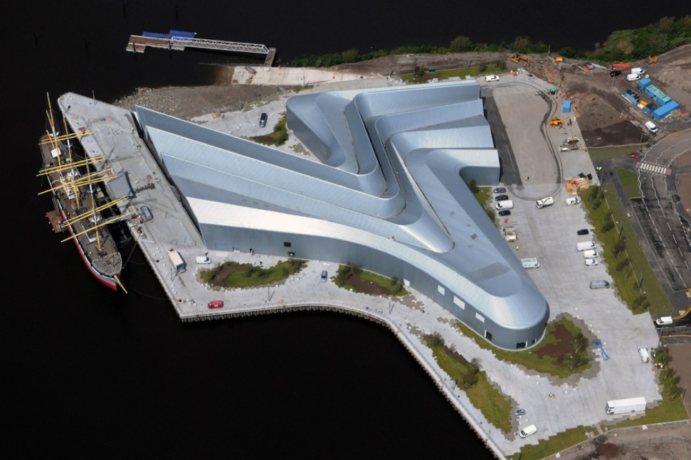 Aerial view Riverside Museum in Glasgow, Scotland