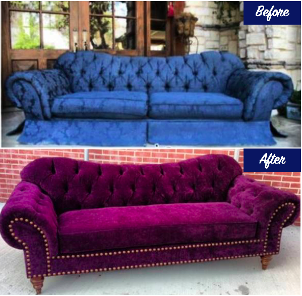 Reupholstered tufted sofa before and after