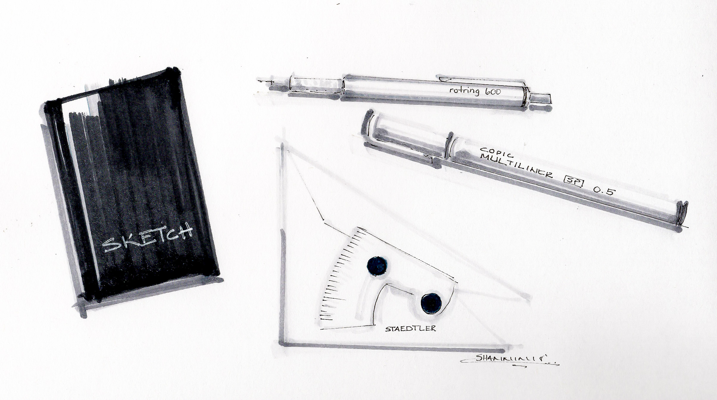 Sketches of architectural and design rendering tools