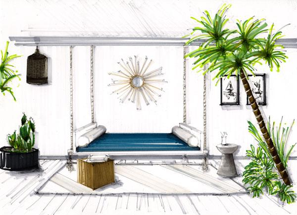 Hand rendered interior design. Tropical boho style design.