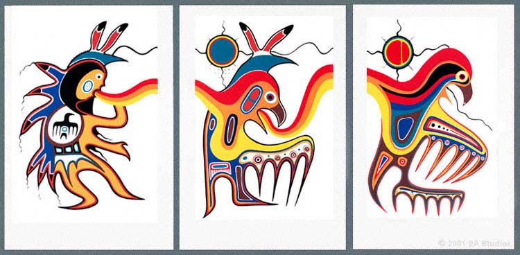 "A triptych, made up of ""Thunder Dancer,"" ""Metamorphosis"" and ""Thunderbird."""