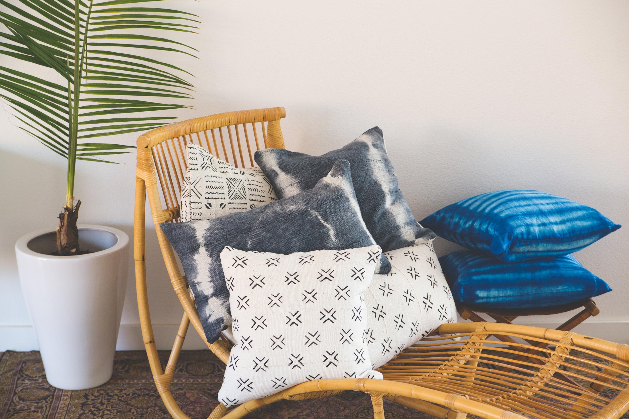 bohemian mud cloth indigo textile pillows