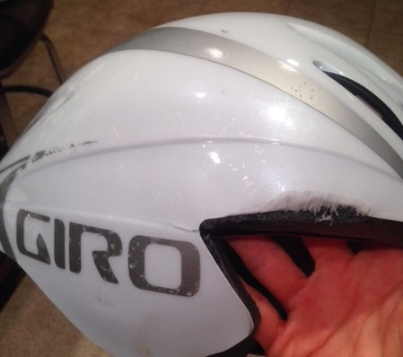 My beautiful aero helmet after the crash.  See the crack in the side?  This beauty saved my life!