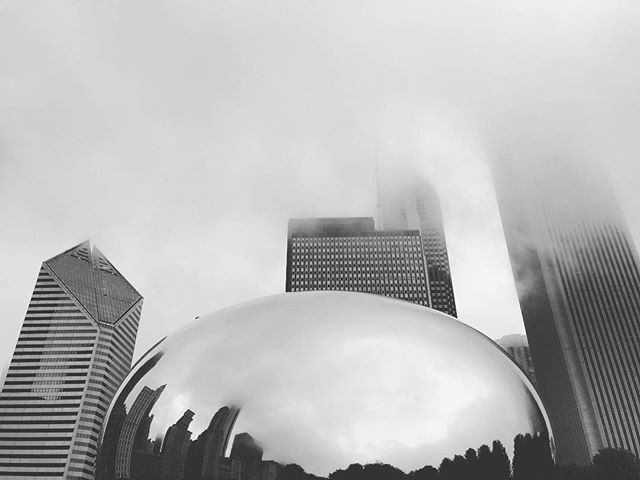 The world reflected. #chicago #reflection #theword #blackandwhite #art #thebean #beautiful #windycity #chitown #overcast #city #bigcity #downtown #millenniumpark