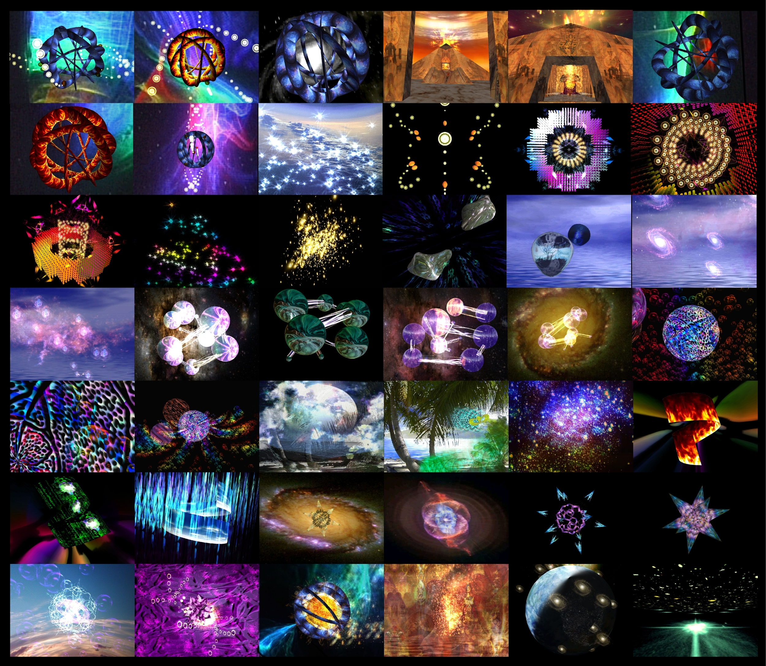 Above are screenshots of just a few examples out of SpaceHarp's library of hundreds of live player-interactive 3D animations. Players can choose which scenes they'd like to enjoy, and they get to be both a musician and a VJ at the same time! SpaceHarp's live music visuals can be experienced on any of several media options including curved screens, projections on screens or scrims, LED meshes, large formats and even digital domes.