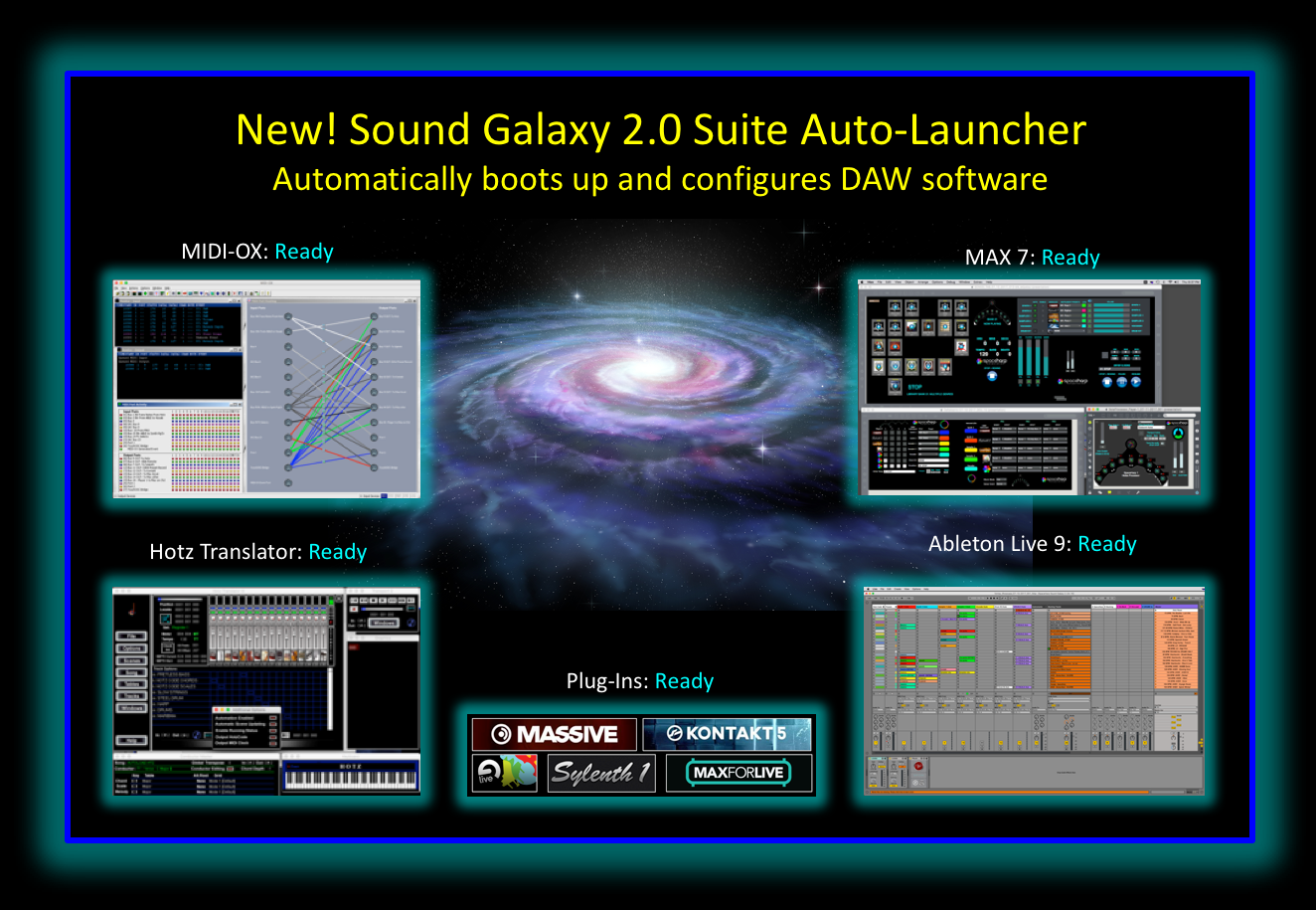 With a few mouse clicks, a Sound Galaxy 2.0 user can automatically go from a cold power-up of the DAW computer to live command of the system for a stage performance, a guest-interactive experience, or a multi-player theme park attraction.