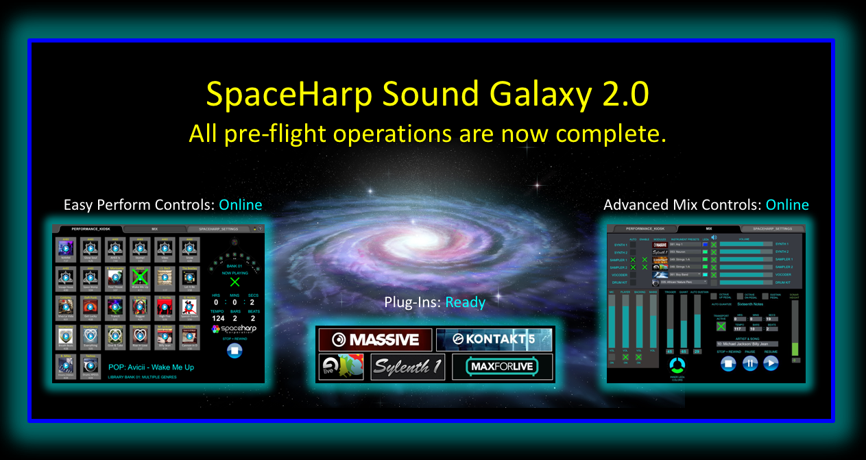 The Easy Performance Tab (shown above left) provides single-touch to launch of pre-configured baking tracks and enhanced live musical performance. The Advanced Mix Tab (shown above right) includes enable/disable of plug-ins; instrument layer volumes and mutes, sub mixes and mains; SpaceHarp's patented auto-quantization and sustain settings, and more.